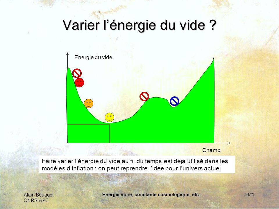 Alain Bouquet CNRS-APC Energie noire, constante cosmologique, etc.17/20 Lénergie du « vide » .