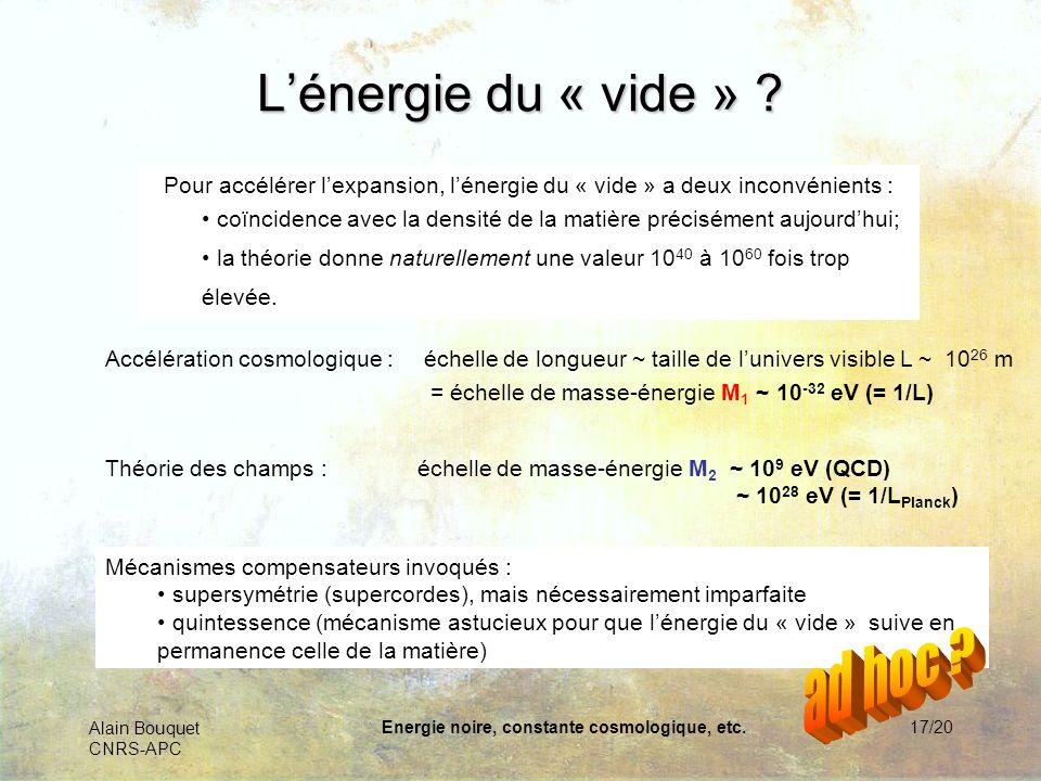 Alain Bouquet CNRS-APC Energie noire, constante cosmologique, etc.18/20 Lénergie du vide est-elle la solution.