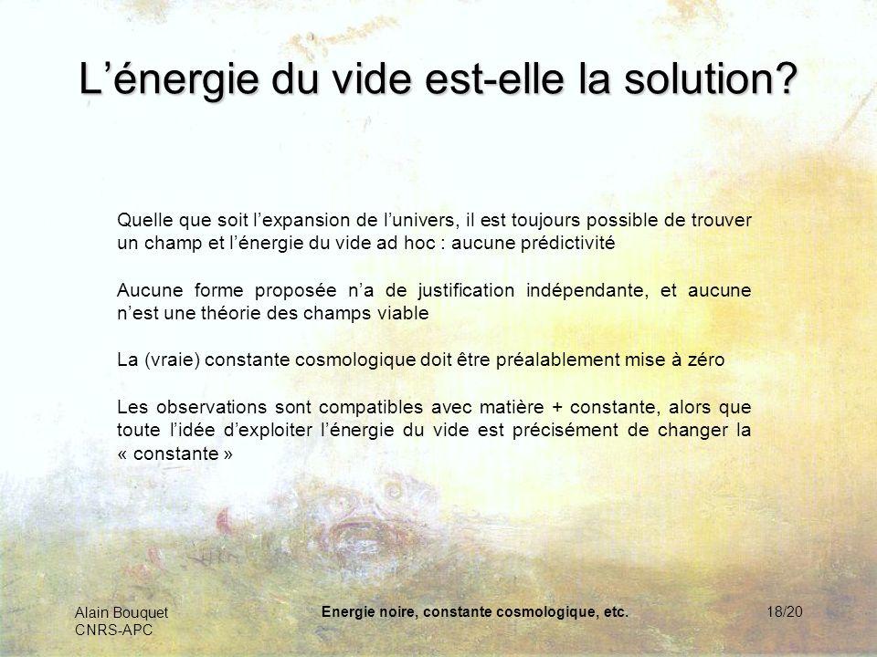 Alain Bouquet CNRS-APC Energie noire, constante cosmologique, etc.19/20 Retour à la constante cosmologique Dimensions supplémentaires ?Une fluctuation quantique .
