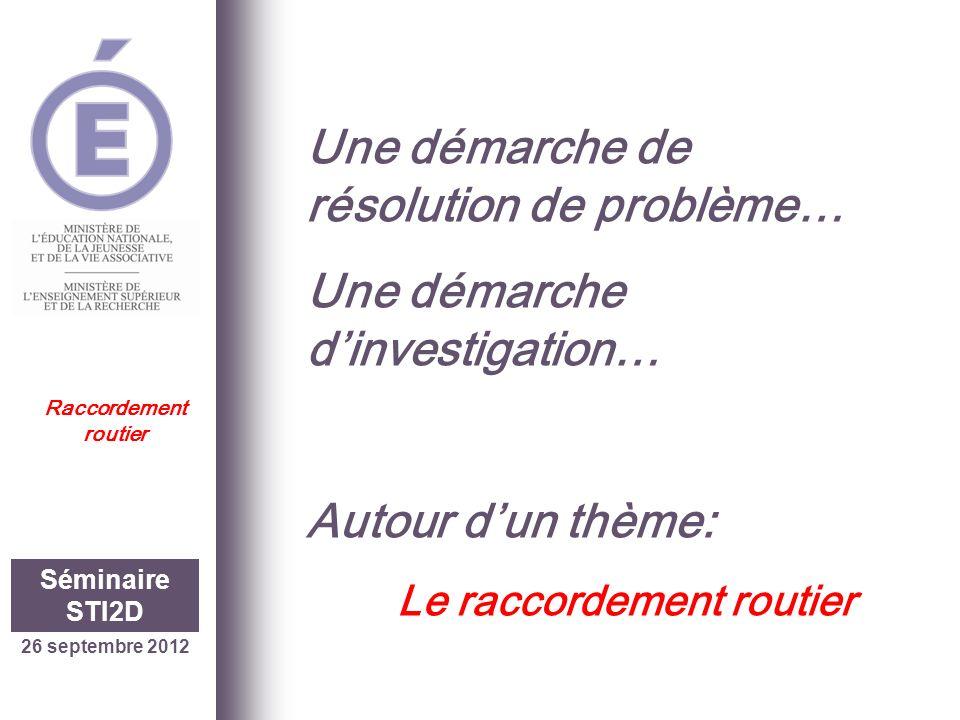 Dans une démarche de résolution de problème… Le raccordement routier 26 septembre 2012 Séminaire STI2D Raccordement routier