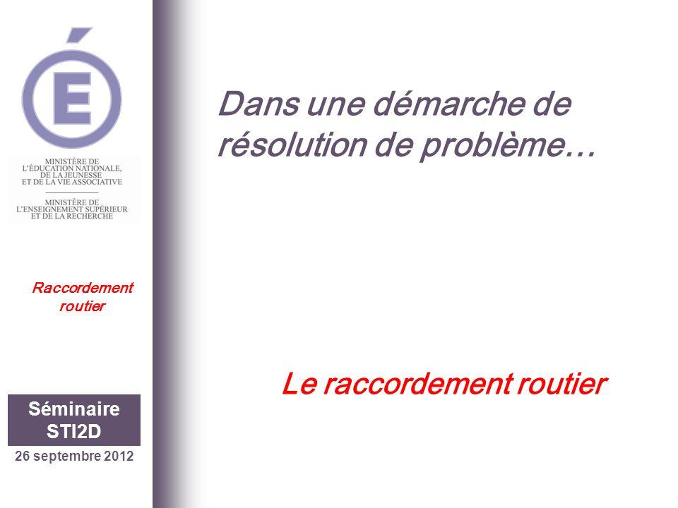 26 septembre 2012 Séminaire STI2D Raccordement routier Une situation réelle…