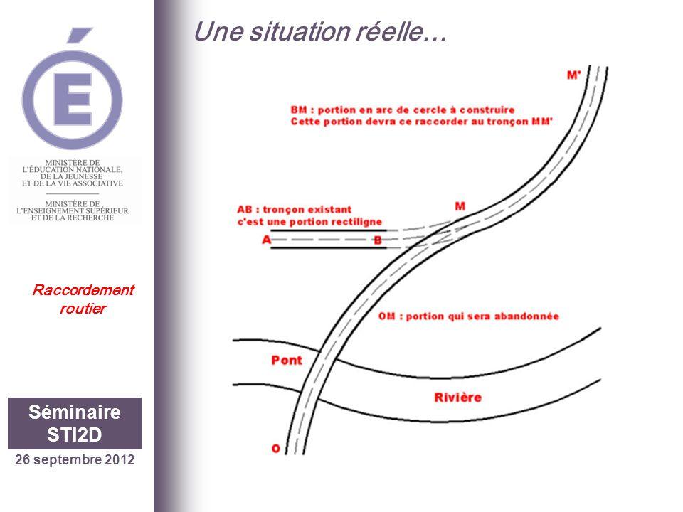 26 septembre 2012 Séminaire STI2D Raccordement routier Une problématique… Vérifier les caractéristiques géométriques du raccordement circulaire simple (BM) entre le tronçon AB et le tronçon MM.