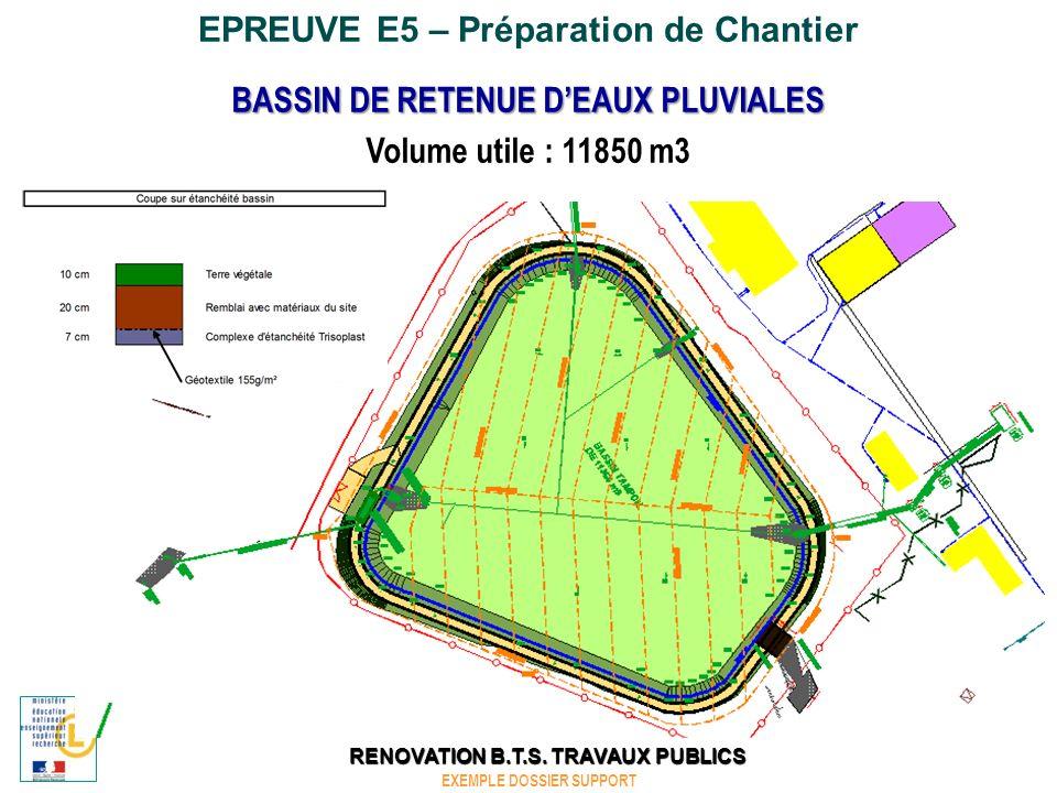 EPREUVE E5 – Préparation de Chantier BASSIN DE RETENUE DEAUX PLUVIALES Etat Initial EXEMPLE DOSSIER SUPPORT RENOVATION B.T.S.