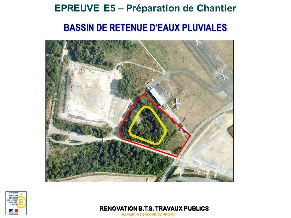 EPREUVE E5 – Préparation de Chantier BASSIN DE RETENUE DEAUX PLUVIALES Contexte Vous travaillez dans une entreprise de travaux publics qui a obtenu le marché de travaux.