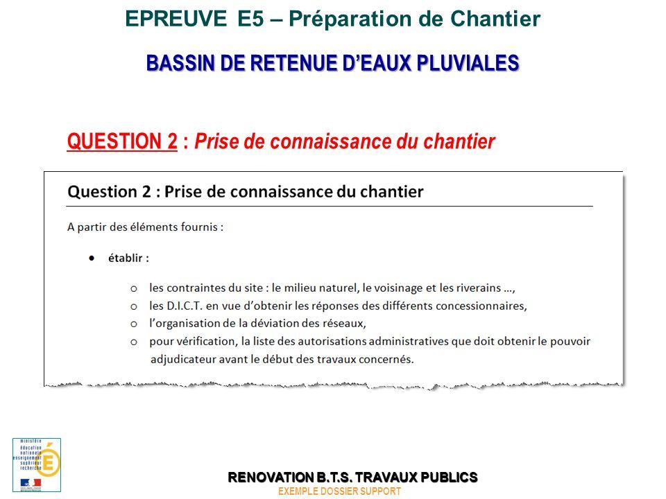 EPREUVE E5 – Préparation de Chantier QUESTION 5 : Planning des travaux BASSIN DE RETENUE DEAUX PLUVIALES EXEMPLE DOSSIER SUPPORT RENOVATION B.T.S.