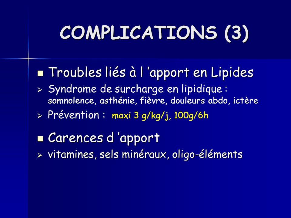 Quotidienne Quotidienne Clinique : T°, poids, état du KT, état général, TA, pouls, Biologique : ionogramme sanguin, Pl-Urée, Glycémie, Glycosurie Hebdomadaire Hebdomadaire Biologique : NFS, Albuminémie, PréAlbuminémie, Bilan lipidique, Calcémie, Phosphorémie, Hémostase, Phosphatase Alcaline, Transaminases, gamma GT, SURVEILLANCE