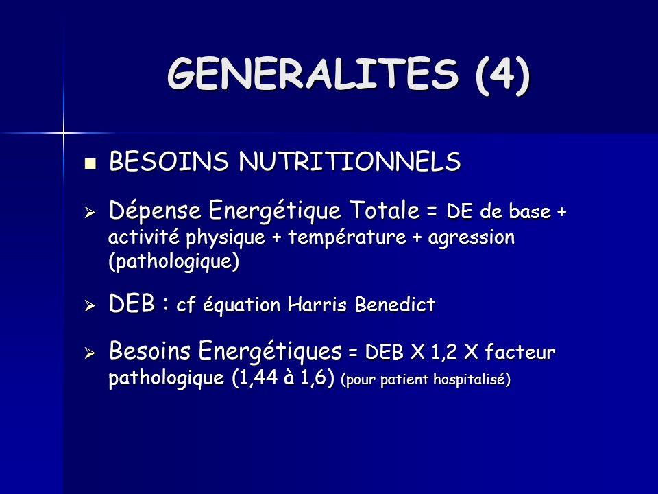 Eau Eau Ad : 25 à 40 ml/kg/j Ad : 25 à 40 ml/kg/j Enf : 50 à 100 ml /kg /j Enf : 50 à 100 ml /kg /j Acides aminés (azote) Acides aminés (azote) 1 g dazote (N) = 6,25 g dacide aminé 1 g dazote (N) = 6,25 g dacide aminé Ad : 0,2 à 0,3 g N/Kg/j Ad : 0,2 à 0,3 g N/Kg/j Enf : 0,3 à 0,5 g N/Kg/j Enf : 0,3 à 0,5 g N/Kg/j Importance des aa essentiels et non essentiels Importance des aa essentiels et non essentiels Glucides Glucides 1 g de glucide = 4KCal 1 g de glucide = 4KCal 3 à 4 g / Kg / j 3 à 4 g / Kg / j GENERALITES (5)