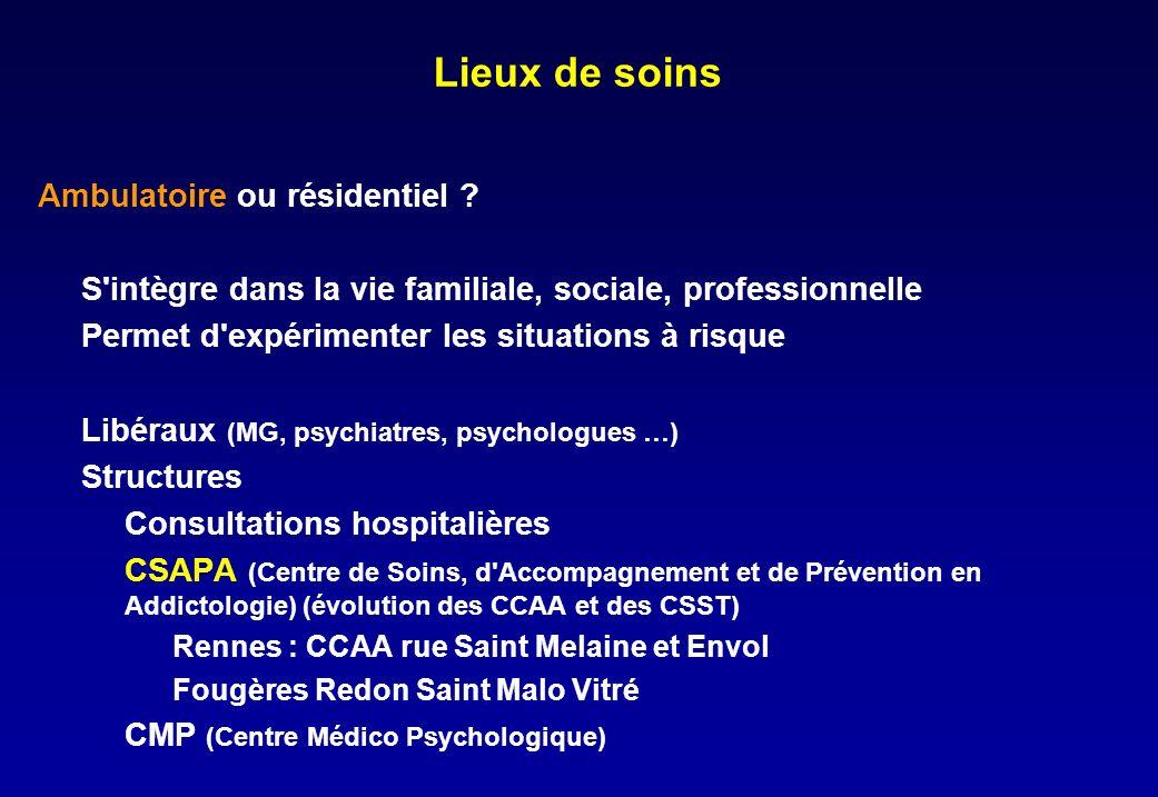 Lieux de soins Ambulatoire ou résidentiel .