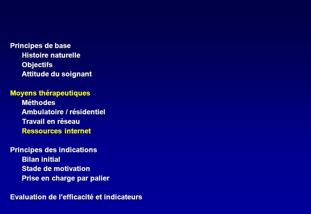 www.drogues.gouv.fr Adresses utiles http://www.cfes.sante.fr/ Livrets patients guide de prise en charge http://sbirt.samhsa.gov/tools_resources/index.htm Manuels de prise en charge (en anglais) http://www.has-sante.fr/ Conférences de consensus http://www.entretienmotivationnel.org Bibliographie et formation