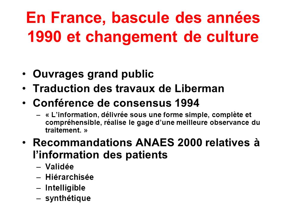 Observance Degré de coïncidence entre –Comportement dun patient –Prescription (médicaments, règles de vie, suivi médical, psychothérapique ou institutionnel…) J Fawcett Compliance : definitions and key issues.