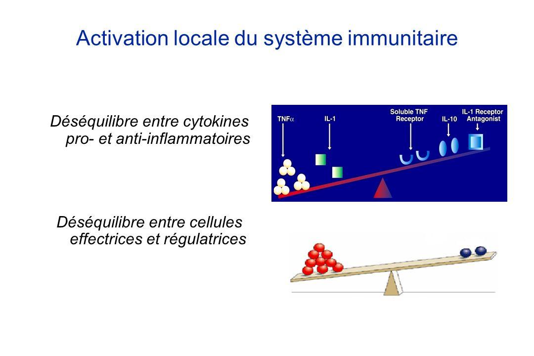 Immunologie Dysrégulation du système immunitaire muqueux Production de médiateurs inflammatoires (cytokines et chimiokines) Recrutement de nouvelles cellules inflammatoires sanguines via la surexpression de molécules dadhésion Déséquilibre entre cellules effectrices (voie Th17) et régulatrices Cibles thérapeutiques des IS