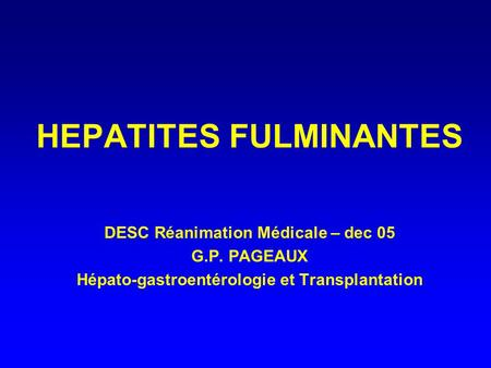 HEPATITES FULMINANTES