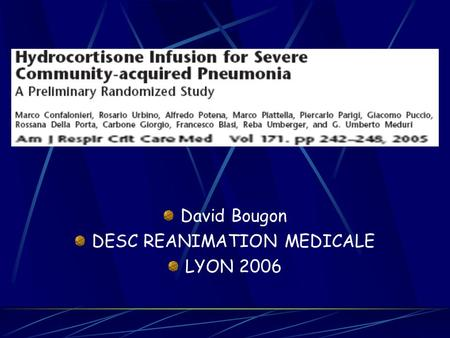 David Bougon DESC REANIMATION MEDICALE LYON 2006.