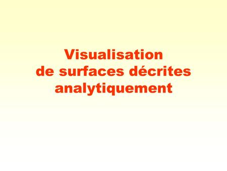 Visualisation de surfaces décrites analytiquement.