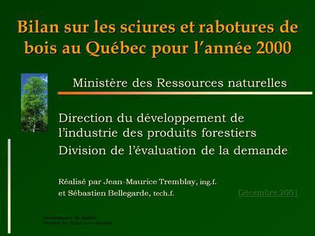 ministere des ressources naturelle du quebec