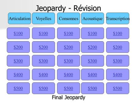 Jeopardy - Révision $100 ArticulationVoyellesConsonnesAcoustiqueTranscription $200 $300 $400 $500 $400 $300 $200 $100 $500 $400 $300 $200 $100 $500 $400.