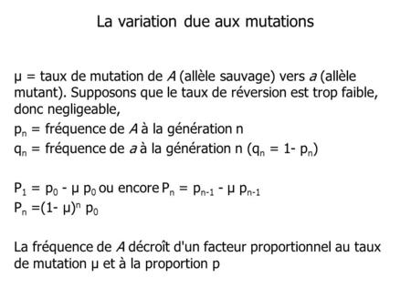 La variation due aux mutations