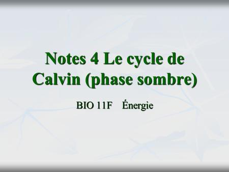 Notes 4 Le cycle de Calvin (phase sombre) BIO 11FÉnergie.