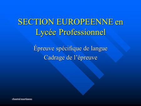 SECTION EUROPEENNE en Lycée Professionnel