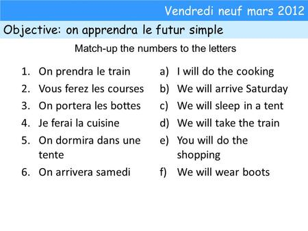 Vendredi neuf mars 2012 Objective: on apprendra le futur simple Match-up the numbers to the letters 1.On prendra le train 2.Vous ferez les courses 3.On.