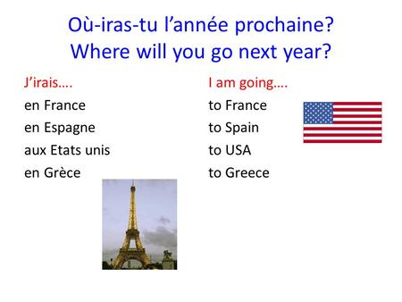 Où-iras-tu l'année prochaine? Where will you go next year?