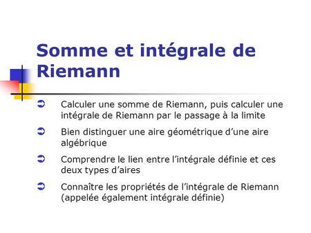 somme de riemann cours pdf