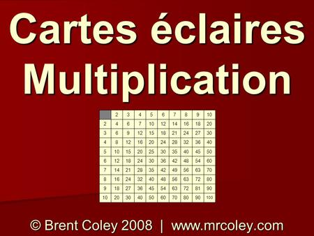 Cartes éclaires Multiplication © Brent Coley 2008 | www.mrcoley.com 2345678910 2467 1214161820 36912151821242730 481216202428323640 5101520253035404550.
