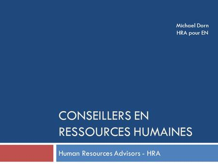 Conseillers en ressources humaines