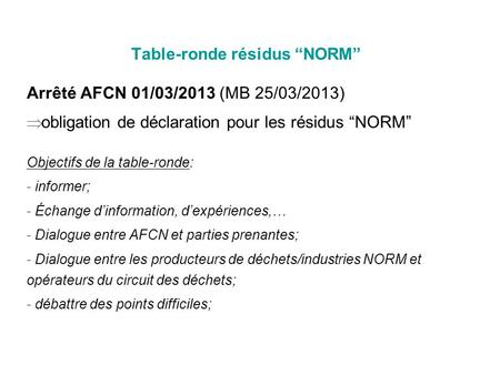 "Table-ronde résidus ""NORM"""