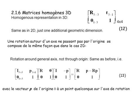 2.1.6 Matrices homogènes 3D Homogenous representation in 3D: