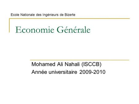 Mohamed Ali Nahali (ISCCB) Année universitaire