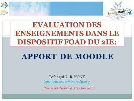 EVALUATION DES ENSEIGNEMENTS DANS LE DISPOSITIF FOAD DU 2IE: