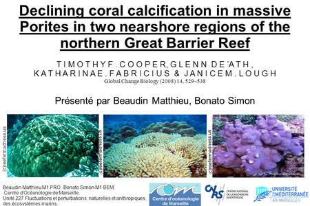 Declining coral calcication in massive Porites in two nearshore regions of the northern Great Barrier Reef T I M O T H Y F. C O O P E R, G L E N N D E.