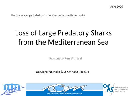 Loss of Large Predatory Sharks from the Mediterranean Sea Francesco Ferretti & al De Clerck Nathalie & Longhitano Rachele Mars 2009 Fluctuations et perturbations.
