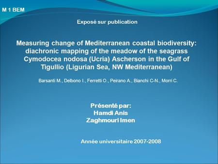Exposé sur publication Measuring change of Mediterranean coastal biodiversity: diachronic mapping of the meadow of the seagrass Cymodocea nodosa (Ucria)