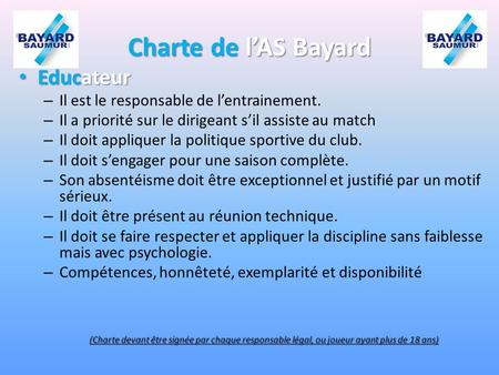 Charte de l'AS Bayard Educateur