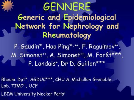GENNERE Generic and Epidemiological Network for Nephrology and Rheumatology P. Gaudin*, Hao Ping*, ++, F. Raguimov ++, M. Simonet ++, A. Simonet ++, M.
