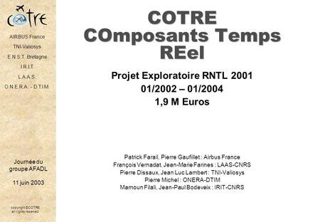 COTRE COmposants Temps REel