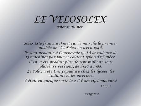 LE VELOSOLEX Photos du net