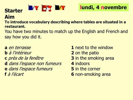 Starter Aim To introduce vocabulary describing where tables are situated in a restaurant. You have two minutes to match up the English and French and say.