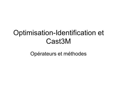 Optimisation-Identification et Cast3M