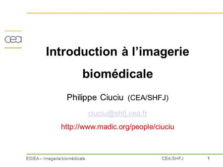 Introduction à l'imagerie biomédicale