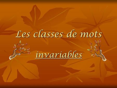 Les classes de mots invariables.