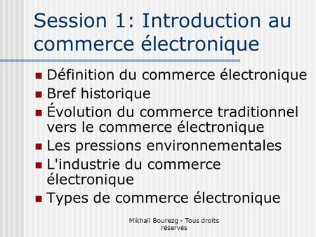 Session 1: Introduction au commerce électronique