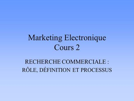 Marketing Electronique Cours 2
