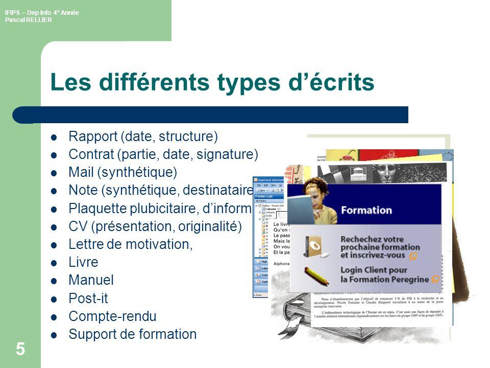 IFIPS – Dep Info 4° Année Pascal RELLIER 6 Quel constat Constat de lévolution de lécrit .