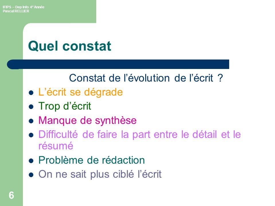 IFIPS – Dep Info 4° Année Pascal RELLIER 7 Structure dun écrit (1/) TITRE Auteur : Pascal RELLIER Destinaire(s) : IFIPS G4 Date : 17/06/2005Visa