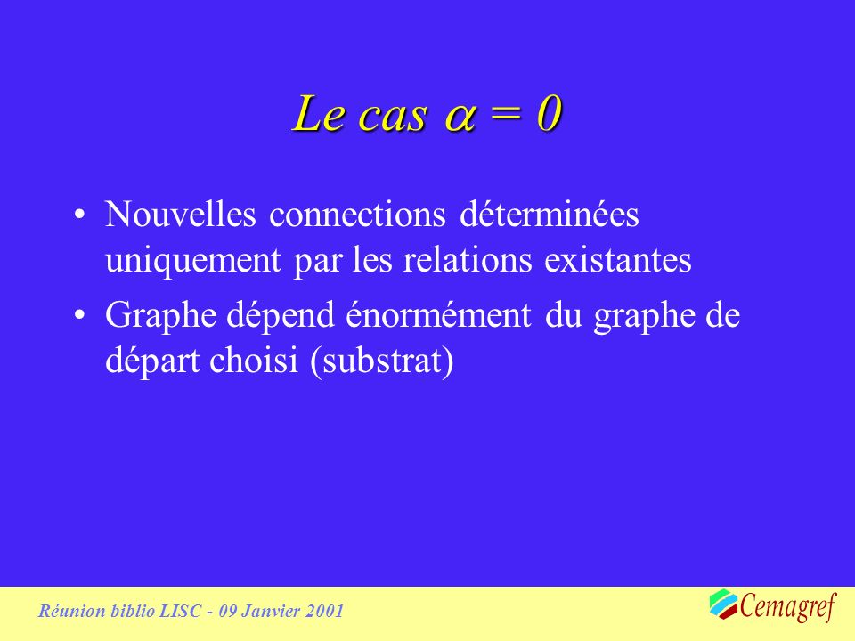 Réunion biblio LISC - 09 Janvier 2001 Need for a substrate Si pas de graphe de départ, 1ers liens aléatoires puis clusters déconnectés => caveman Possibilités : –Ajouter connections a posteriori, augmenter p ????