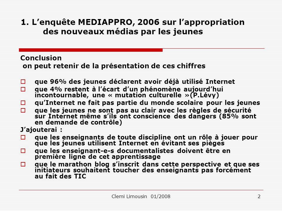 Clemi Limousin 01/20083 2.Quest-ce que le Web 2.0 Les sites Web 2.0 sont centrés sur lutilisateur.