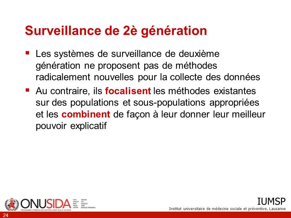IUMSP Institut universitaire de médecine sociale et préventive, Lausanne 25 Combinaison de diverses sources dinformation Surveillance biologique Surveillance comportementale Autres sources de données Registres de décès Surveillance des IST, surveillance de la tuberculose